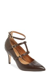 Women's Corso Como 'Carter' Tiered Ankle Strap Pump Dark Brown Leather
