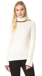 Msgm Ribbed Turtleneck Sweater White Blue