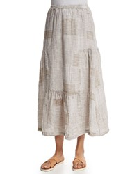 Eskandar Tiered Patchwork Linen Midi Skirt Hessian