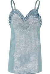 Jacquemus Ruffled Knitted Lame Mini Dress Sky Blue