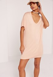 Missguided V Neck T Shirt Dress Nude Beige