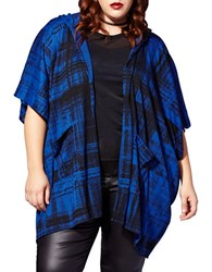 Mblm By Tess Holliday Hooded Plaid Cape Sodalite Black