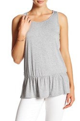 Kensie Lace Back Knit Tank Gray
