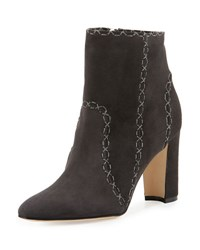 Manolo Blahnik Rubio Stitched Suede Ankle Boot St 89 Grey Suede