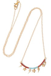 Ileana Makri Raining Night Gold Plated Multi Stone Necklace Gold Red