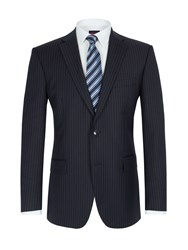 Pierre Cardin Stripe Single Breasted Suit Jacket Blue