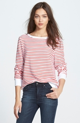 Wildfox Couture Stripe Baggy Beach Jumper Pullover Hot Lipstick Stripes On White