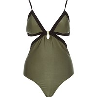 River Island Womens Khaki Triangle Clip Front Swimsuit