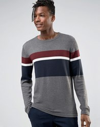 Selected Homme Crew Neck Knitted Jumper With Stripe Grey