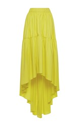 Martin Grant Stretch Cotton A Line Strapless Long Dress Yellow