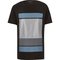 River Island Mens Dark Grey Colour Block Print T Shirt