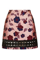 Glamorous Floral Brocade Skirt By Pink