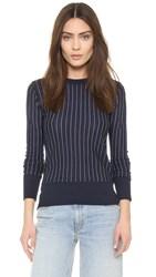Dkny Vertical Stripe Pullover Classic Navy Chalk