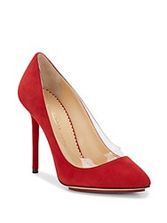 Charlotte Olympia Party Monroe Suede Pumps Dark Red
