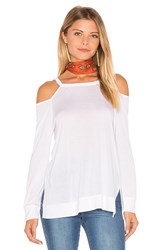 Lanston Cut Out Shoulder Pullover White