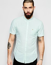 Farah Shirt With Seersucker Stripe Slim Fit Short Sleeves Green