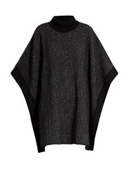Tomas Maier Striped Roll Neck Wool Poncho Black Grey