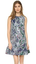 Cynthia Rowley Dress With Flounce Navy Emerald