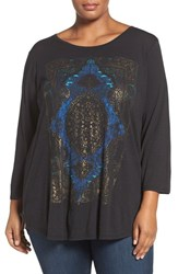 Lucky Brand Plus Size Women's Watercolor Rug Print Top