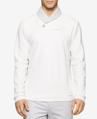 Calvin Klein Men's Contrast Shawl Collar Sweater White