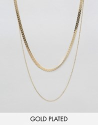 Ny Lon Nylon Gold Plated Double Row Necklace Gold Plated