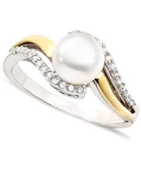 Macy's 14K Gold And Sterling Silver Cultured Freshwater Pearl And Diamond Accent Ring