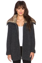 Minkpink What's Real Faux Fur Cardigan Gray