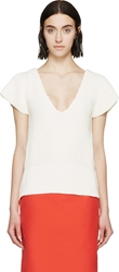 Nina Ricci White Open Back Knit Top