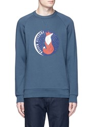 Maison Kitsune 'Fox Moon' Print Cotton Sweatshirt Blue