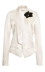 Lanvin Shawl Collar Short Satin Jacket Ivory