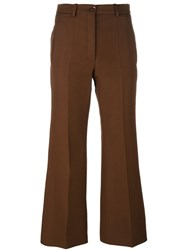Nina Ricci Pleated Flared Trousers Brown