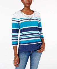 Alfred Dunner Striped Studded Top Multi