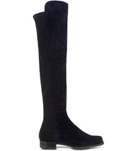 Stuart Weitzman 50 50 Knee High Suede Boots Navy
