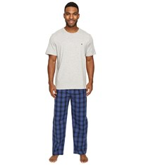 Tommy Hilfiger Poplin Pants Crew Neck T Shirt Set Royal Men's Pajama Sets Navy