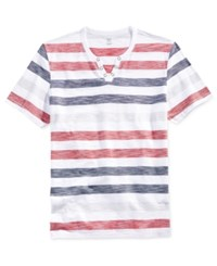Inc International Concepts Men's Muscles Mentor Stripe Split Neck T Shirt Only At Macy's Canyon Red