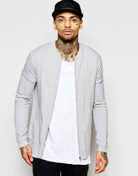 Asos Lightweight Jersey Muscle Bomber Jacket In Gray Gray Marl