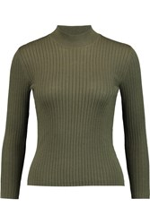 Ag Jeans Alexa Chung England Ribbed Wool Blend Sweater Green