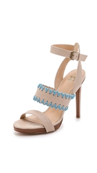 Joe's Jeans Riana Platform Sandals Off White Turquoise