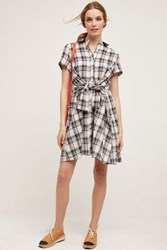 Anthropologie Plaid Tie Waist Shirtdress Grey Motif