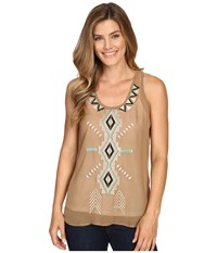 Roper 0232 Solid Georgette Tank Top Brown Women's Sleeveless