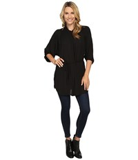 Bobeau Maren Lace Trim Woven Tunic Black Women's Blouse