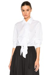 Tome Tie Front Shirt With Ruffle In White