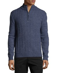 Neiman Marcus Cable Knit Quarter Zip Sweater Moonlight