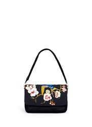 Elizabeth And James 'Willa' Bird Floral Embroidered Suede Shoulder Bag Black