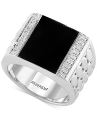 Effy Collection Effy Men's Onyx 5 Ct. T.W. And Diamond 3 10 Ct. T.W. Woven Ring In Sterling Silver