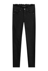 7 For All Mankind Seven Skinny Jeans With Frayed Trims Black