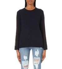The Kooples Embroidered Wool And Cashmere Blend Jumper Navy Black