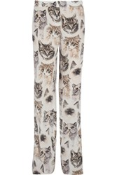 Stella Mccartney Printed Silk Crepe De Chine Wide Leg Pants White