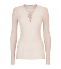 Sandro Sacha Slim Ribbed Laced Front Top Female Pink