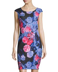 Jax Cap Sleeve Floral Sheath Dress Pink Multi